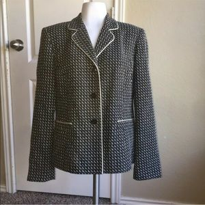 Talbots Black & White Tweed Style Blazer Jacket 8